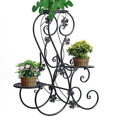 3-tier Elegant Classical Design Plant Stand with 3 Holders Potted Plant Rack(Black) - intl
