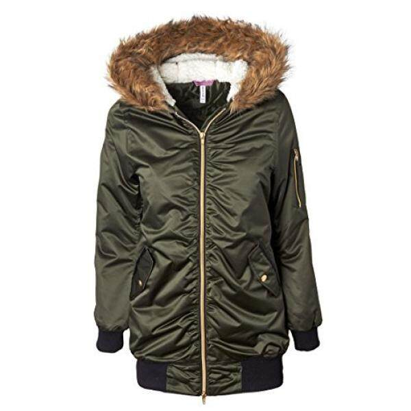 Sportoli Women's Bomber Winter Puffer Jacket With Attached Sherpa Lined Hood and Removable Faux Fur Trim Forest (Size Small)