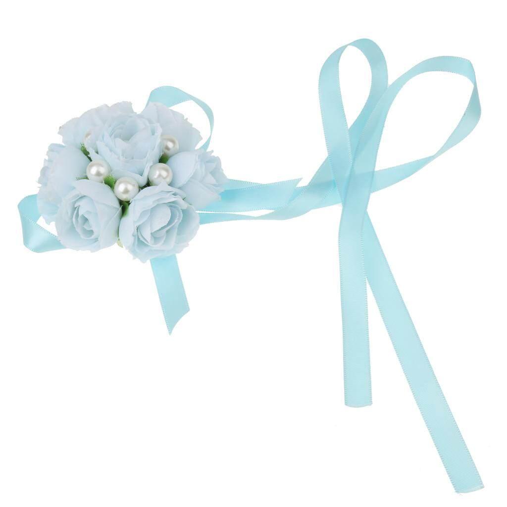 BolehDeals Wrist Corsage Bracelet Sisters Bridesmaid Faux Pearls Rose Hand Flowers Wedding Party Bridal Prom