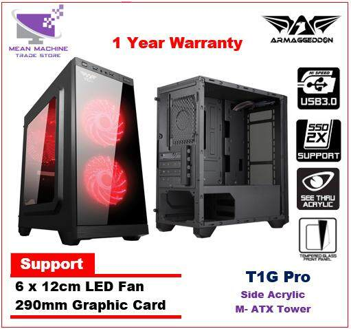 Armaggeddon T1G Pro Black White / M-ATX Front Tempered Glass Gaming Chassis Malaysia