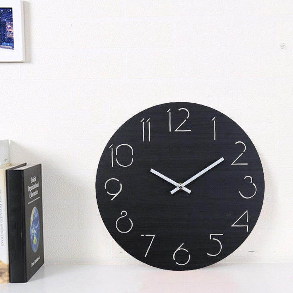 12 Quiet Decoration Battery-operated Bedroom Big Wood Decorative Eco-friendly European Large Mute Number Wall Clock