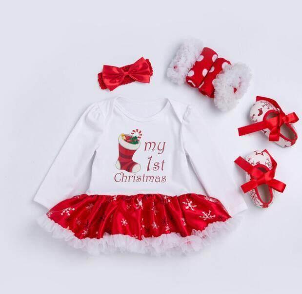 Rompi Bayi Motif Natal Kostum Bayi Perempuan Bunga-bunga Renda Rompers Lengan Panjang Overall Baju