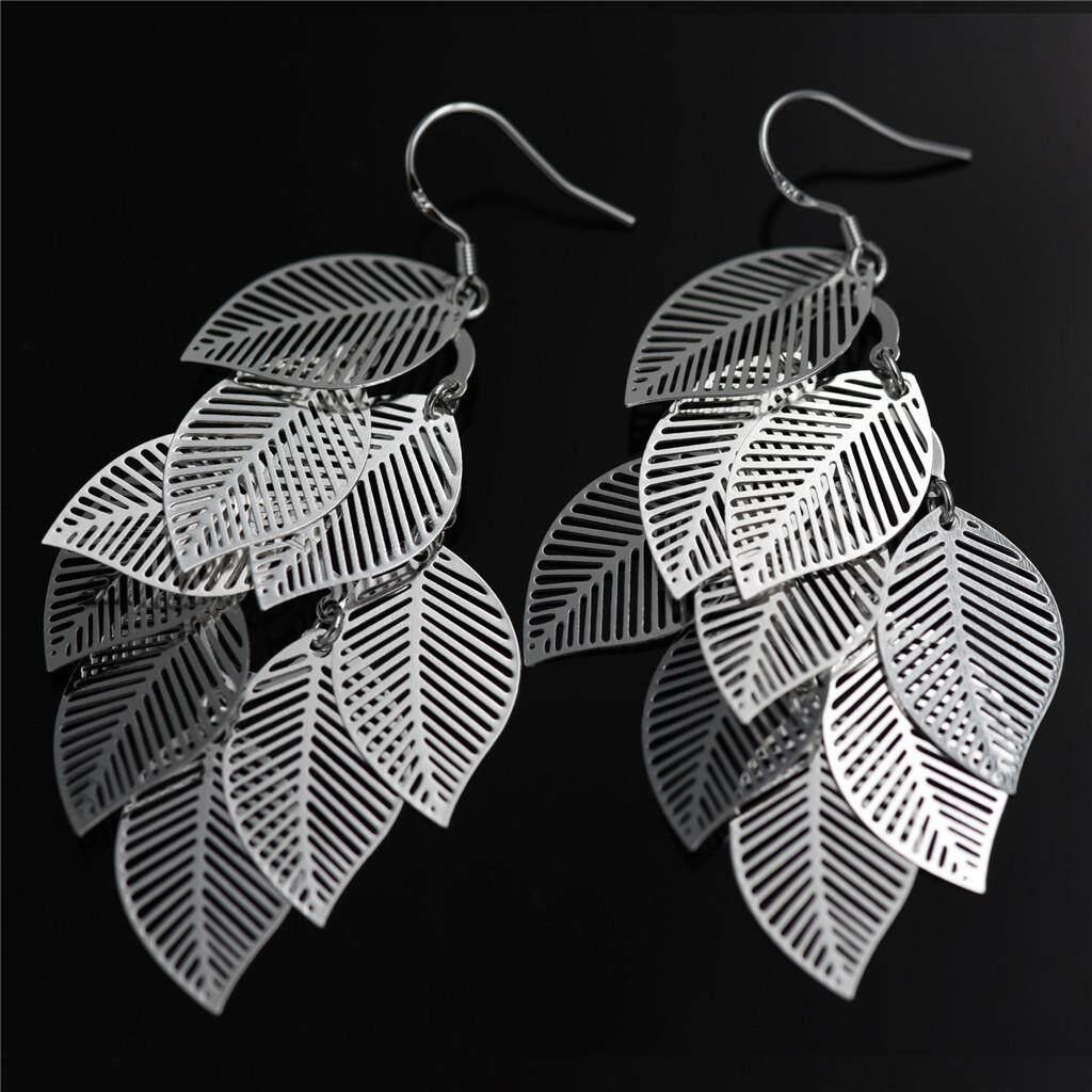BolehDeals Women Wedding party Jewelry Silver Plated Hollow Leaf Dangle Hook Earrings - intl