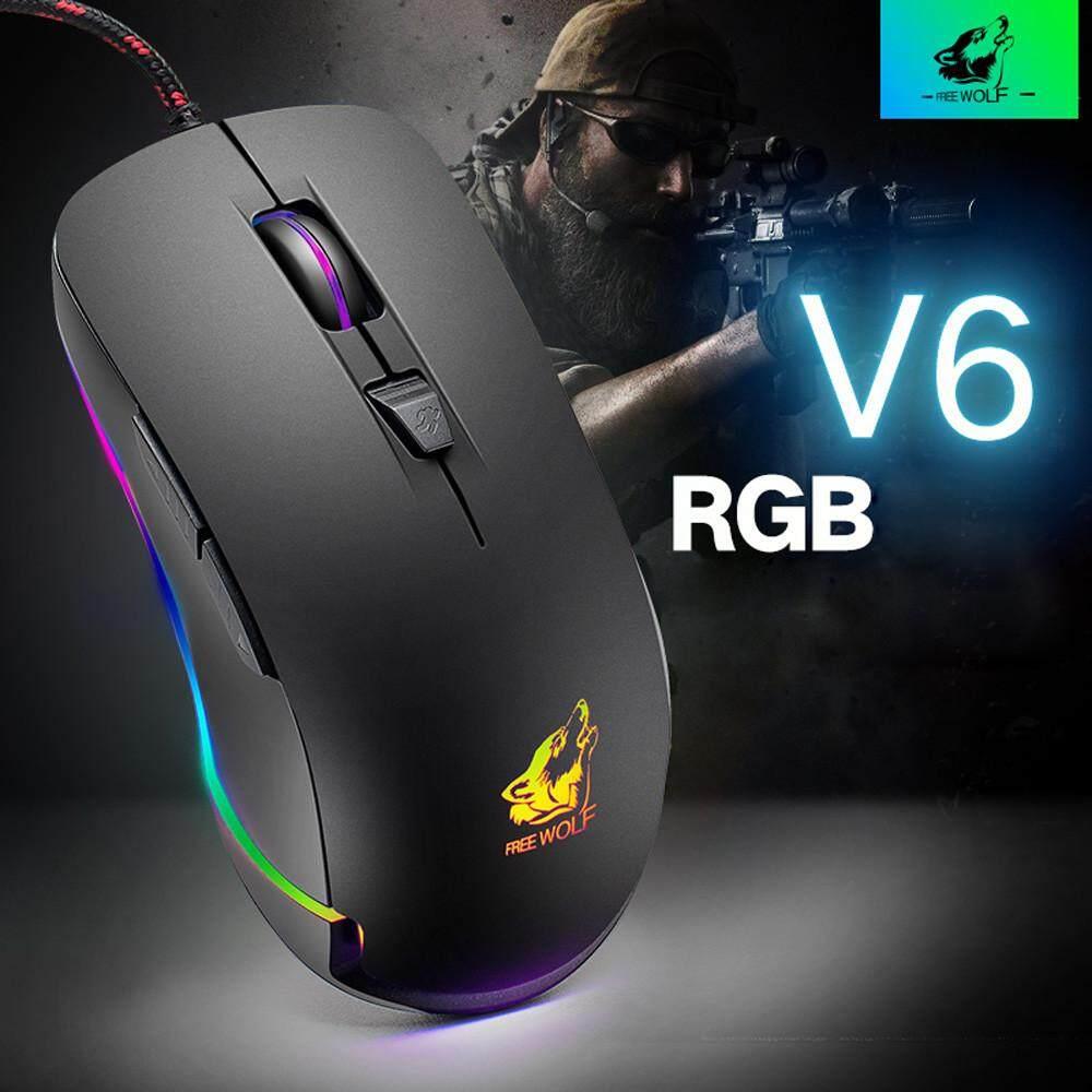 V6 Kabel RGB LED Backlit 4000 DPI Optik USB Bermain Ergonomis Mouse Laptop .