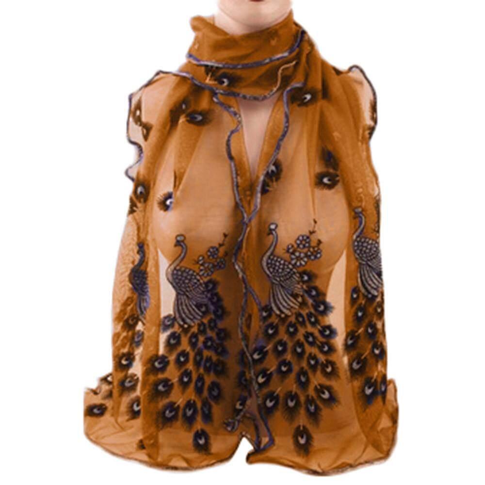 ผู้หญิงแจ็คการ์ดแฟชั่น Parisian ที่ยอดเยี่ยมชีฟองนกยูงผ้าพันคอนิ่มยาว By Qusaystore.