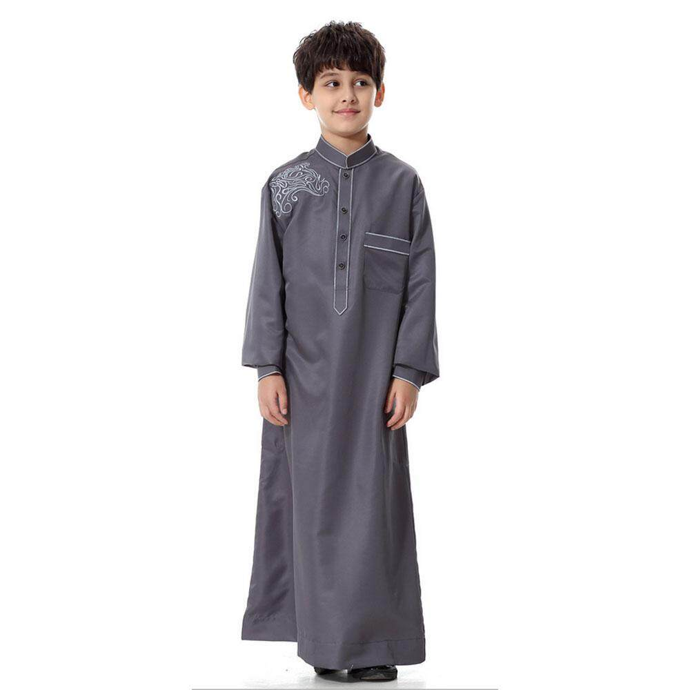 Orzbuy Lengan Panjang Tiruan Leher Bordir Timur Tengah Muslim Arab Anak-anak Gamis-Intl