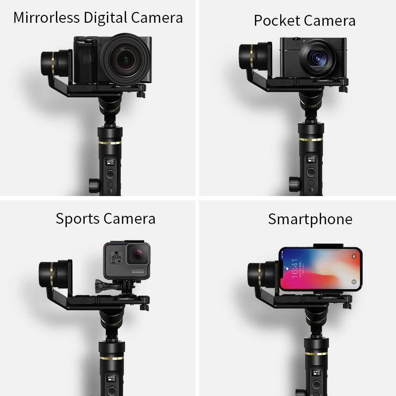 FeiyuTech G6 Plus 3-Axis Handheld Gimbal Stabilizer for Mirrorless Camera, Pocket Camera, GoPro, Smartphone,Payload 800g F.O.C 1pc Extension Pole + Smartphone Adapter