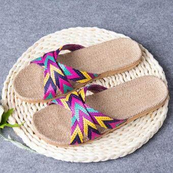 10accf96266f Carolaneshop Women Men Anti-slip Linen Home Indoor Summer Open Toe Flats  Shoes Slippers -