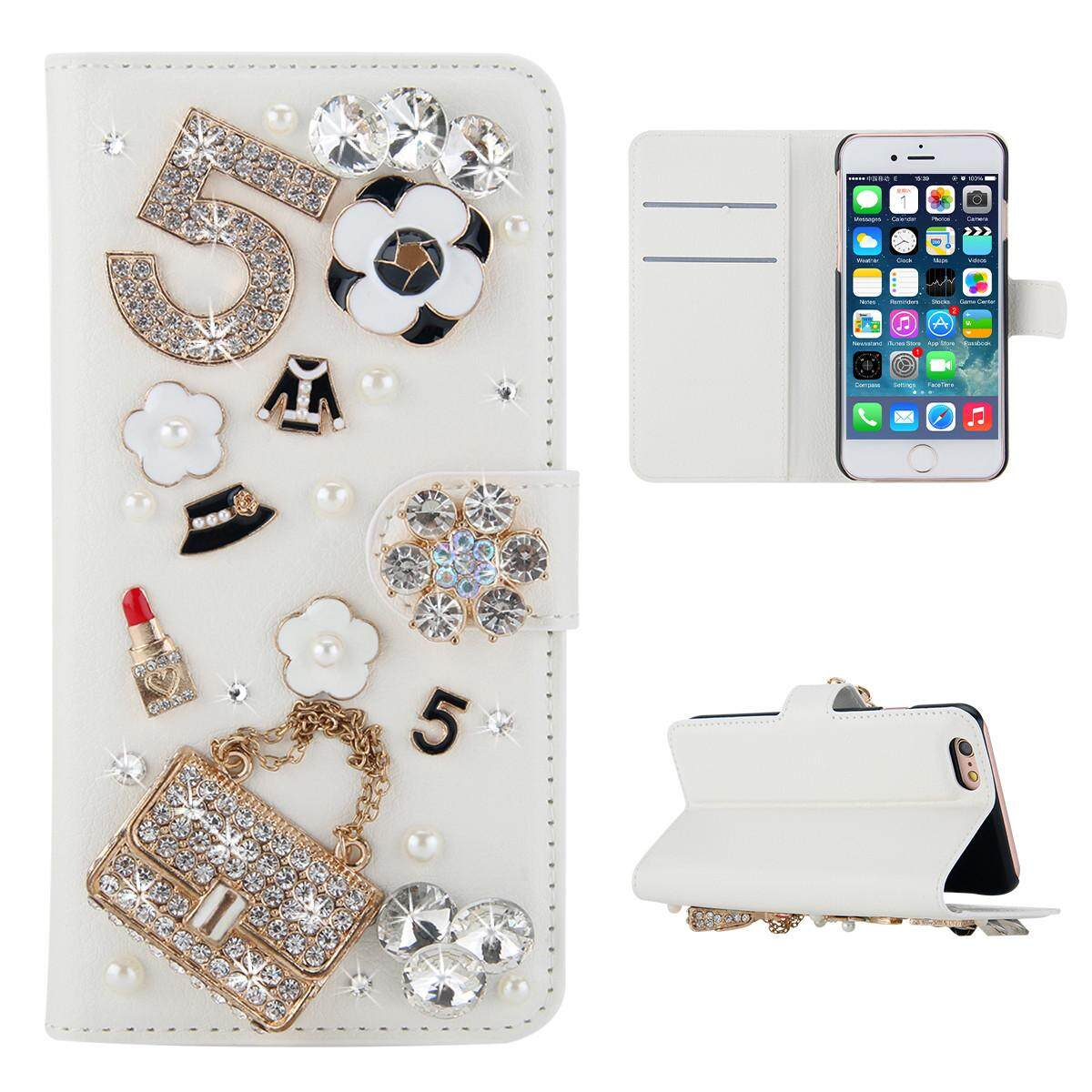 Case for Samsung Galaxy A6 2018 3D Bling Diamond Rhinestones PU Leather Wallet Case Flip Stand Card Slots Cover with Magnetic Closure - intl