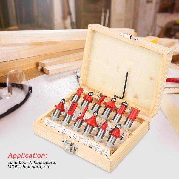 【Made in Italy 】12pcs 1/2(12.7mm)Shank Carbon Steel Router Bit Woodworking Cutter Set in Wood Case Box