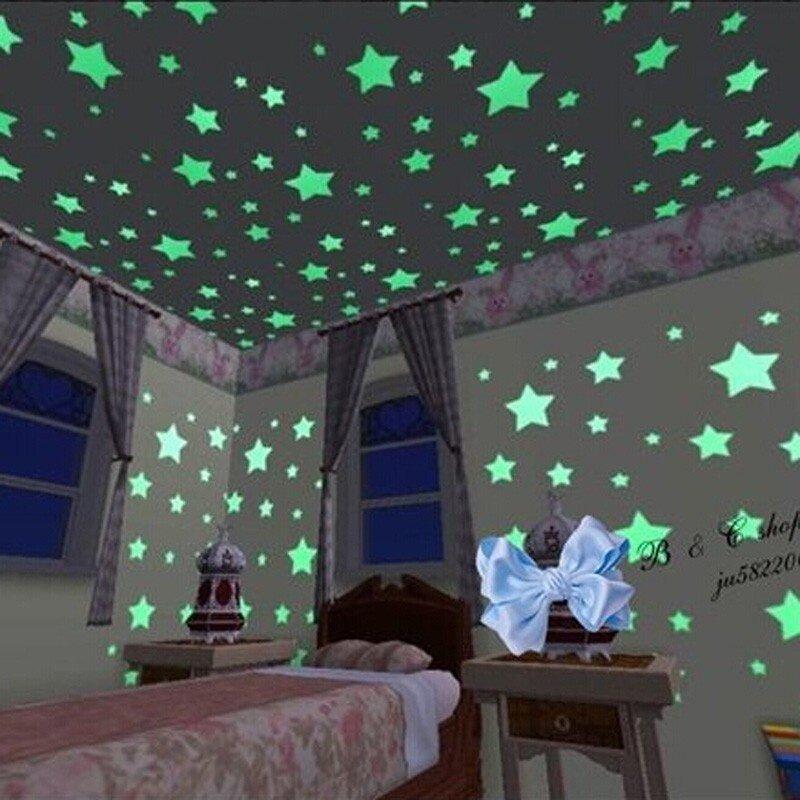 200pcs plastic 3d stars glow in the dark luminous fluorescent wall
