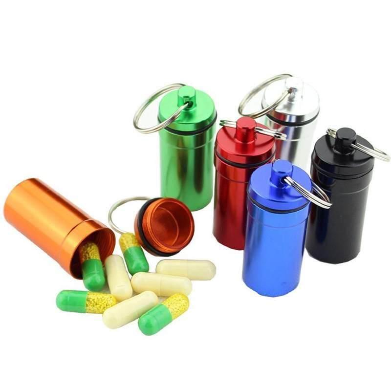 Paduan Aluminium Luar Ruangan Gantungan Kunci Botol Botol Gantung Mini Tahan Air Panci Kecil Darurat Pil Botol