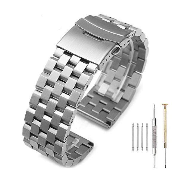 Brushed 316L Solid Stainless Steel Watch Bands Strap 20mm/22mm/24mm Double Locking Clasp Mens Black/Silver Malaysia