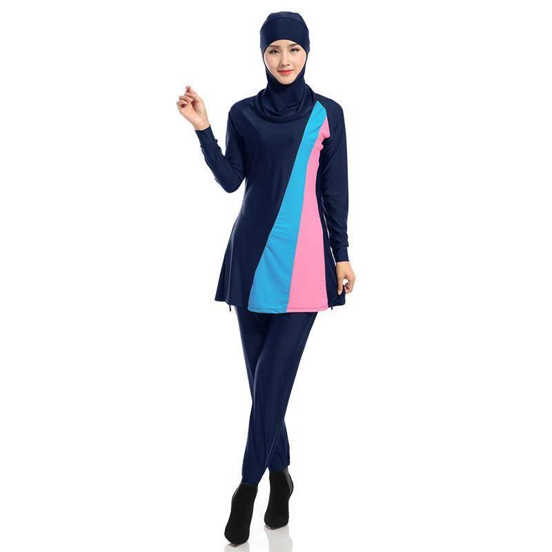 Litao Wanita Plus Ukuran Muslim Baju Renang Pantai Mandi Setelan Wanita Konservatif Muslimah Baju Renang Islami Berenang Berselancar Pakaian Olahraga Pakaian Angkatan Laut biru XXXL-Internasional