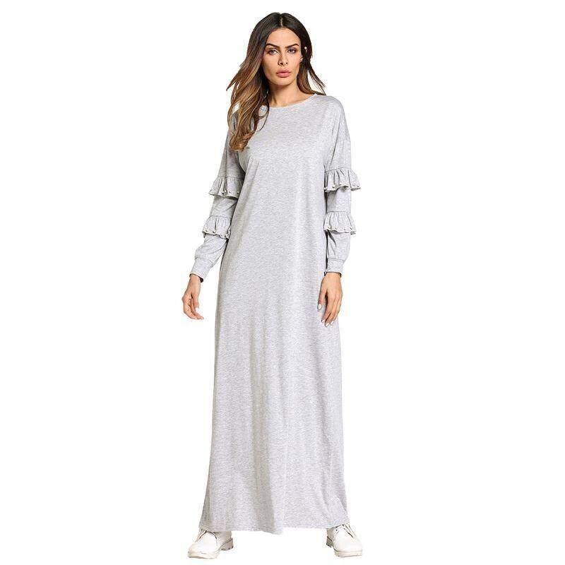 Mode untuk Wanita Gamis Muslim Padat Manik-manik Desain Gaun Maxi Menampilkan Gaun Elegan Ramadan Timur Tengah (Lampu Grey XL/Kami ~ 10/UK ~ 14)-Intl