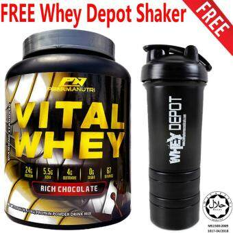 Vital Whey Halal 2kg/4.41lbs, Whey Isolate With 24g Protein, 67 Servings - Fast Muscle Recovery (Chocolate Milkshake) + FREE 3-in-1 DP Whey Depot/Mass Depot Protein Shaker/Blender/Mixer 16oz/450ml (Black)