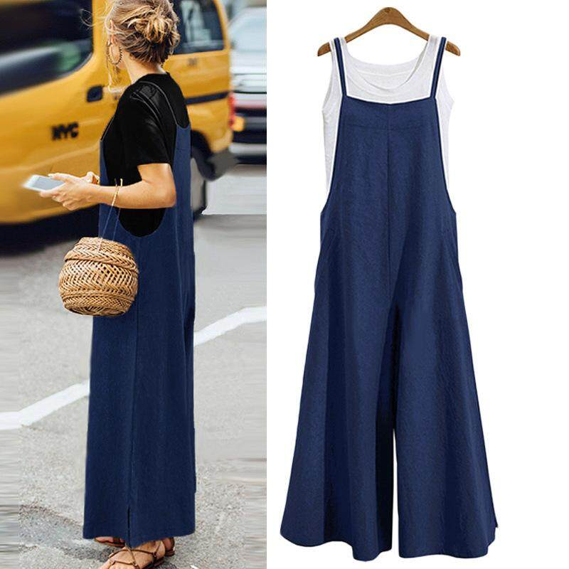 23635d48a10 RHS Online Women Cotton Linen Jumpsuits Casual Straps Wide Leg Pants  Pockets Romper Bib Overalls Loose