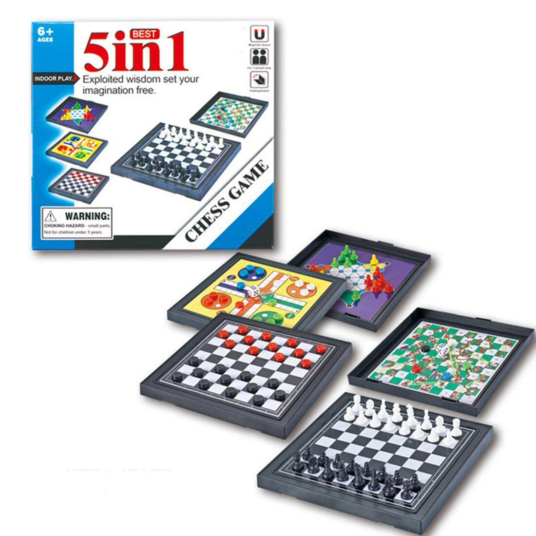 Hình ảnh 360DSC 5 in 1 Mini Chess Game Checkerboard Flying Chess Chinese Checkers Magnetic Board Game Set Educational Toy - Main Black - intl