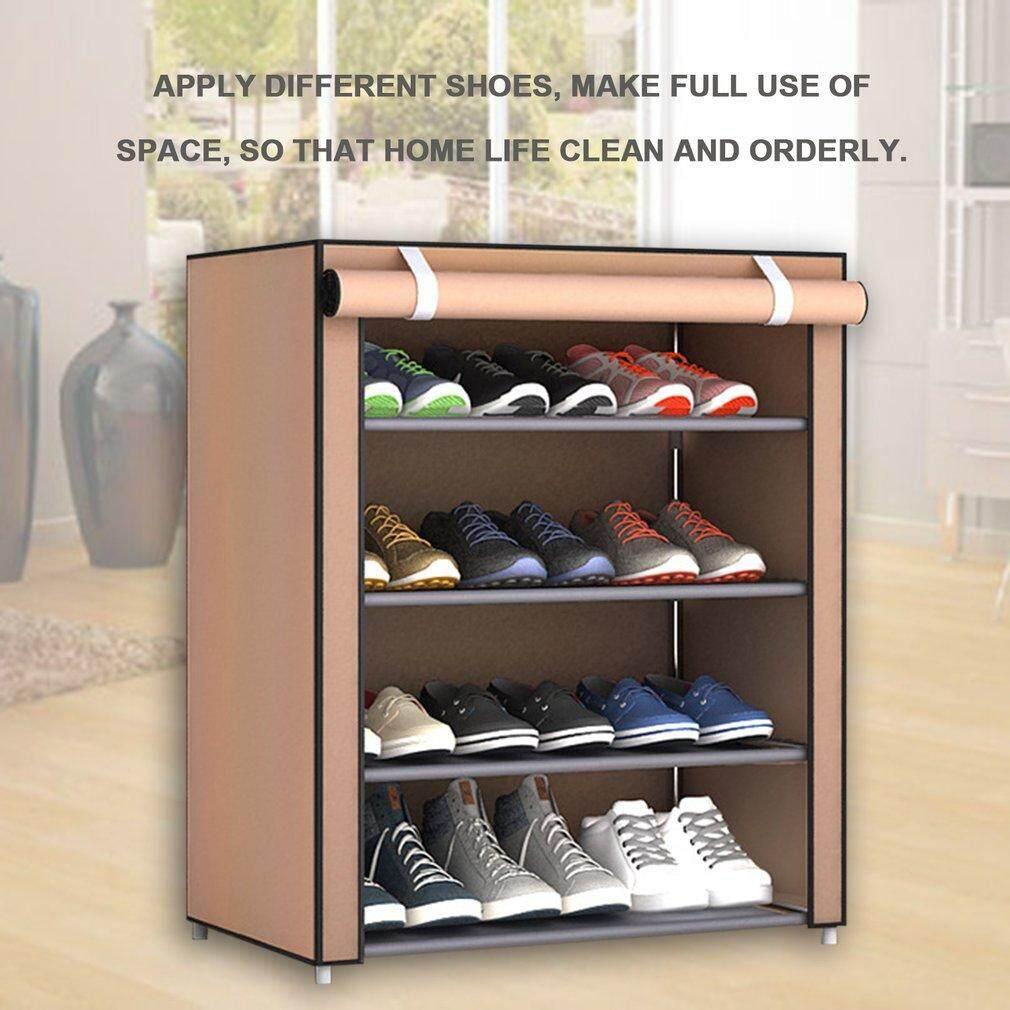 ELEC Dustproof Large Size Non-Woven Fabric Shoes Rack Shoes Organizer Home Bedroom Dormitory Shoe Racks Shelf Cabinet 4 layer - intl