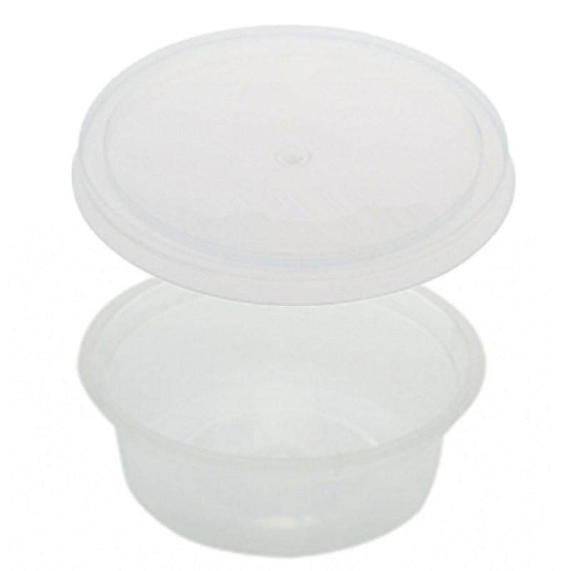 60ml PP Microwavable Round Containers With Lids Clear 10pcs