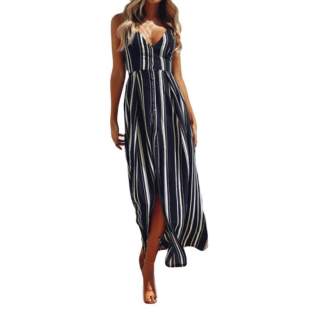 Delicate Womens Sleeveless Blackless Fashion Dress Lady Beach Summer Stripe Dress - intl