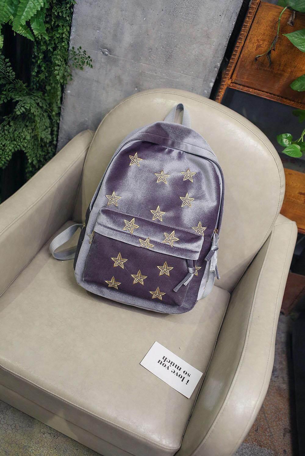 3dc3dd295678  gray Backpack new Korean version of the stars embroidery velvet backpack  fashion wild school
