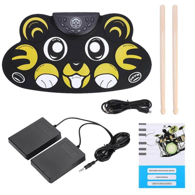 Shanyu Portable Rolling Up Electronic Drum Pad Kit with Pedals Sticks USB Cable Accessory