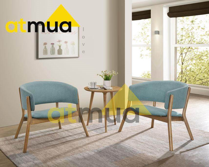 Atmua Milan Lounge Chair Set - [Full Solid Wood] (2 Chair + 1 End Table)