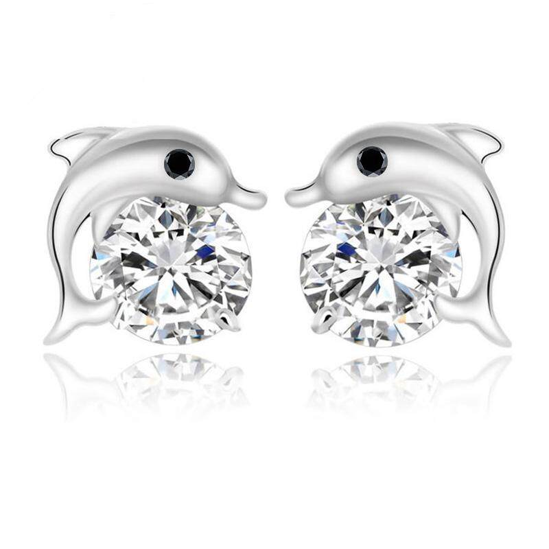 1 Pair Women Stud Earrings Zircon Crystal Dolphin Earring Piercing - intl