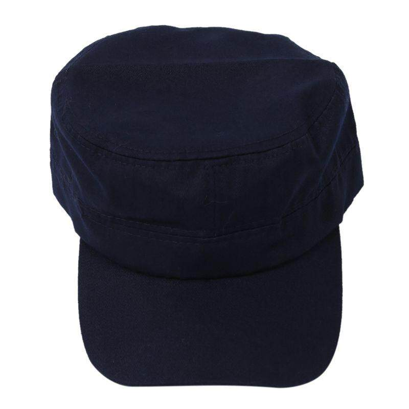 Stylish Plain Military Army Cap Castro Cadet Patrol Cap Hat Adjustable(Navy blue)