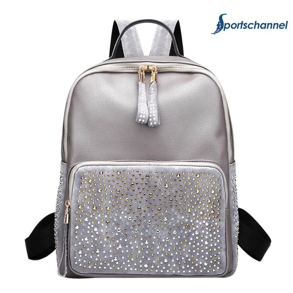 Women Rhinestone Girls Pu Leather Casual Party Small Shoulder Schoolbags - Intl By Sportschannel.