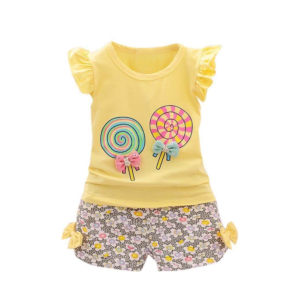 3c7da9361f CNB2C2PCS Toddler Kids Baby Girls Outfits Lolly T-shirt Tops+Short Pants  Clothes Set