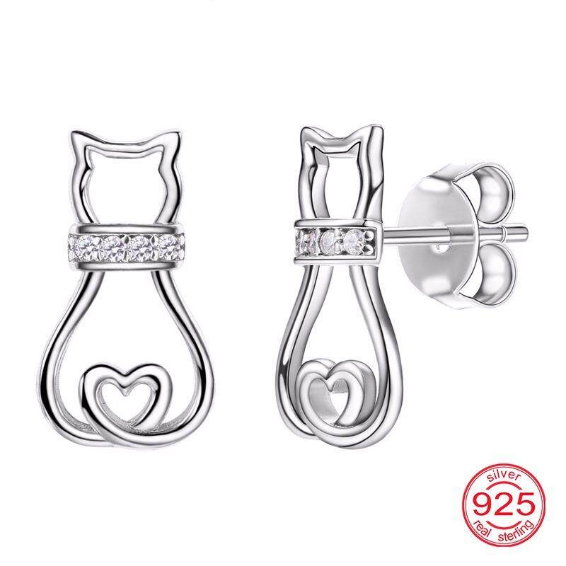 pure girl jewellery shop sterling fashion zirconia silver at earring brinco jewelry buy s stud cat cubic gift fine silvercute womens