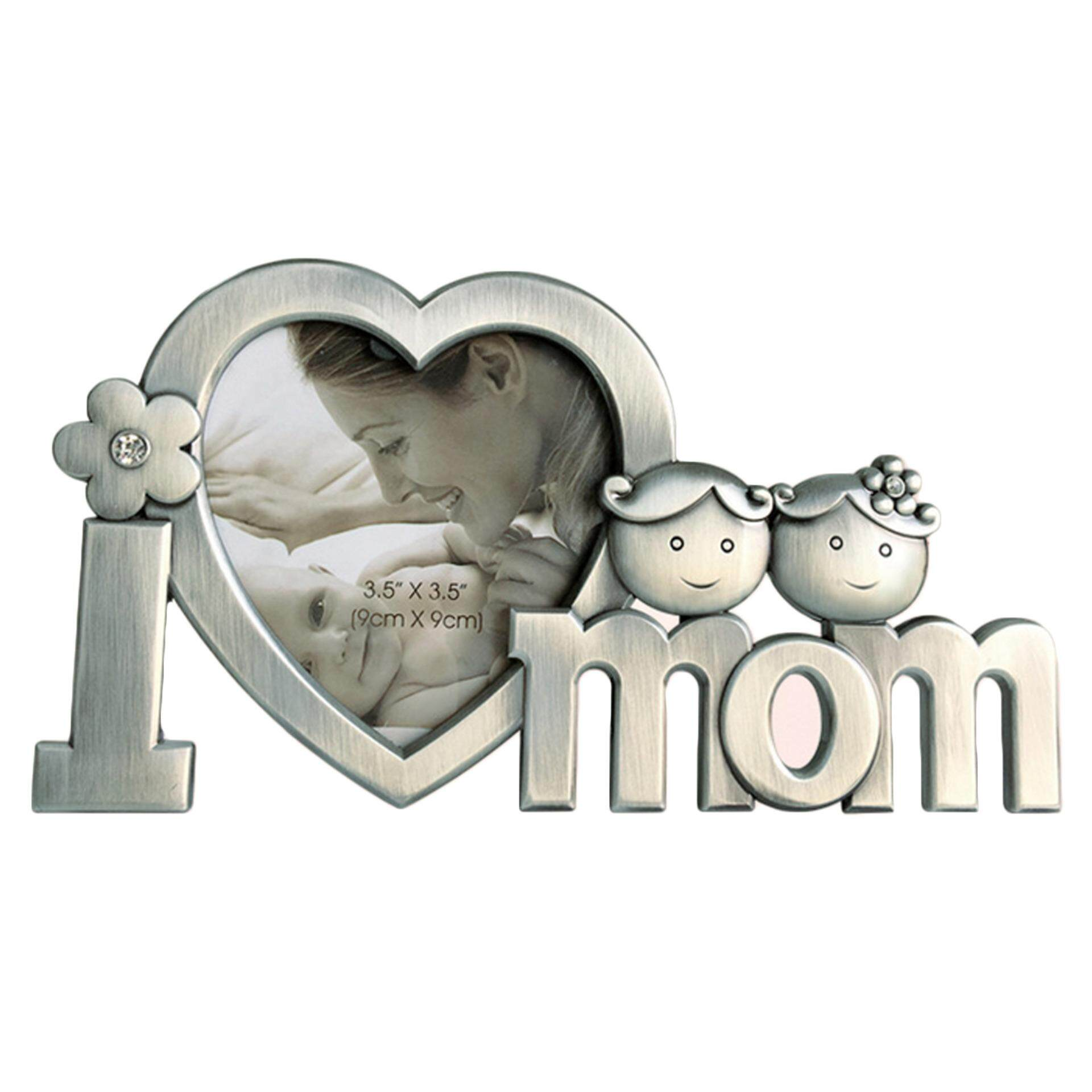 I Love Mom Metal Picture Photo Frame Heart Shaped Photo Frame for Mothers Day Birthday Gifts Silver - intl