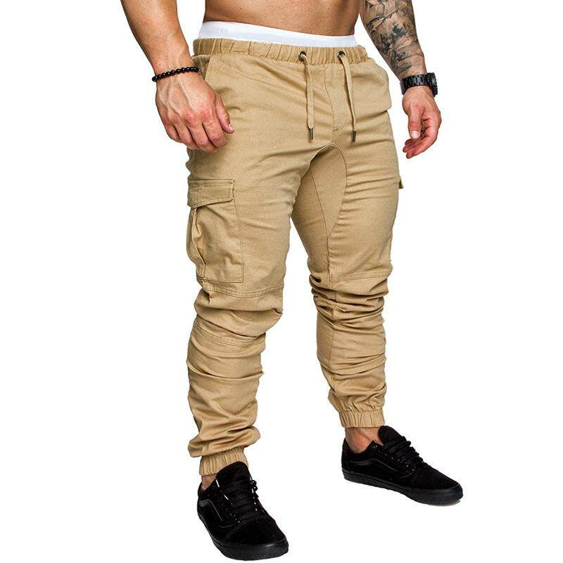 9156b932a93e Sunnybest Men Fashion Casual Multi-pocket Solid Color Sport Drawstring Cargo  Pants