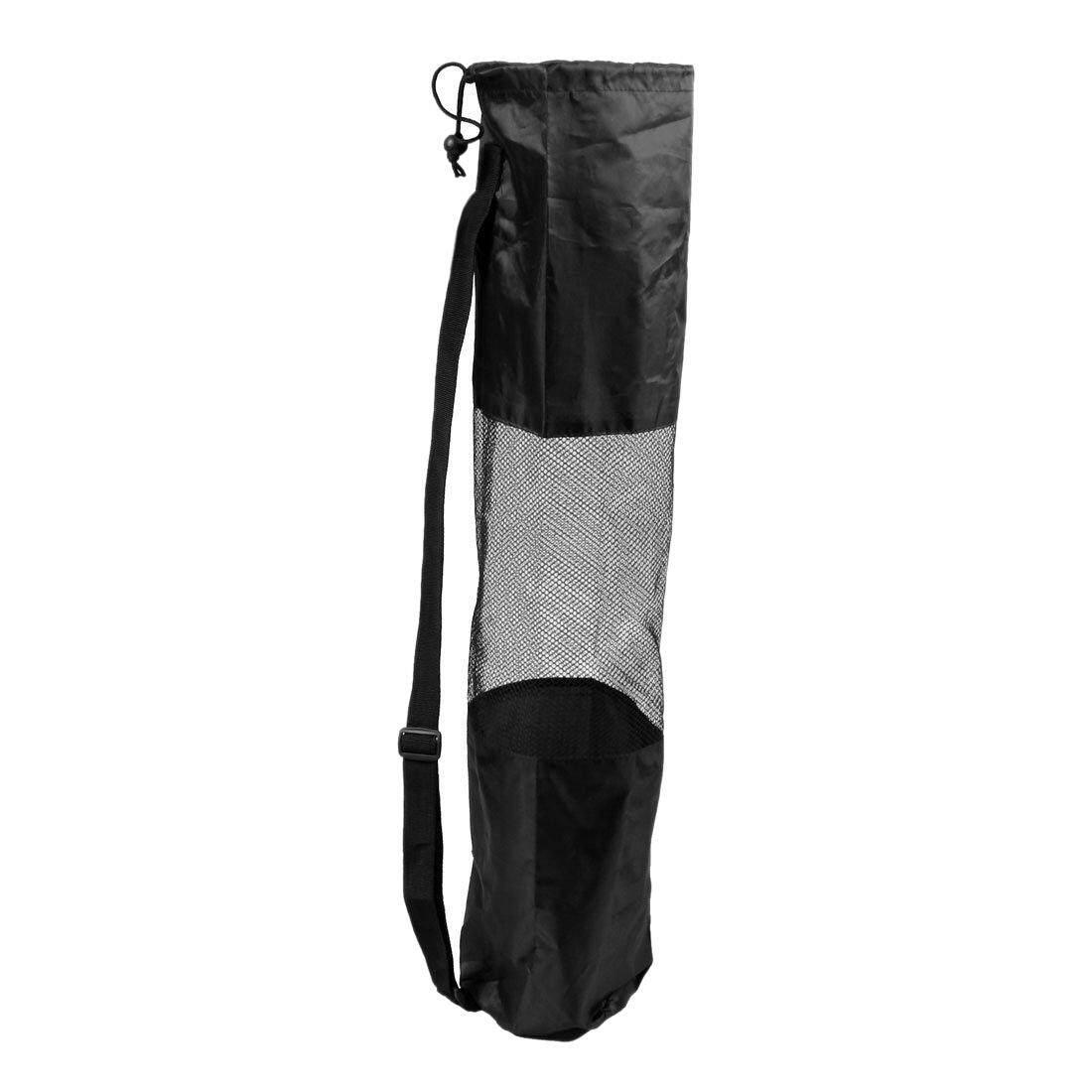 Portable Mesh Center Black Pilates Mat Bag Carrier For Yoga.