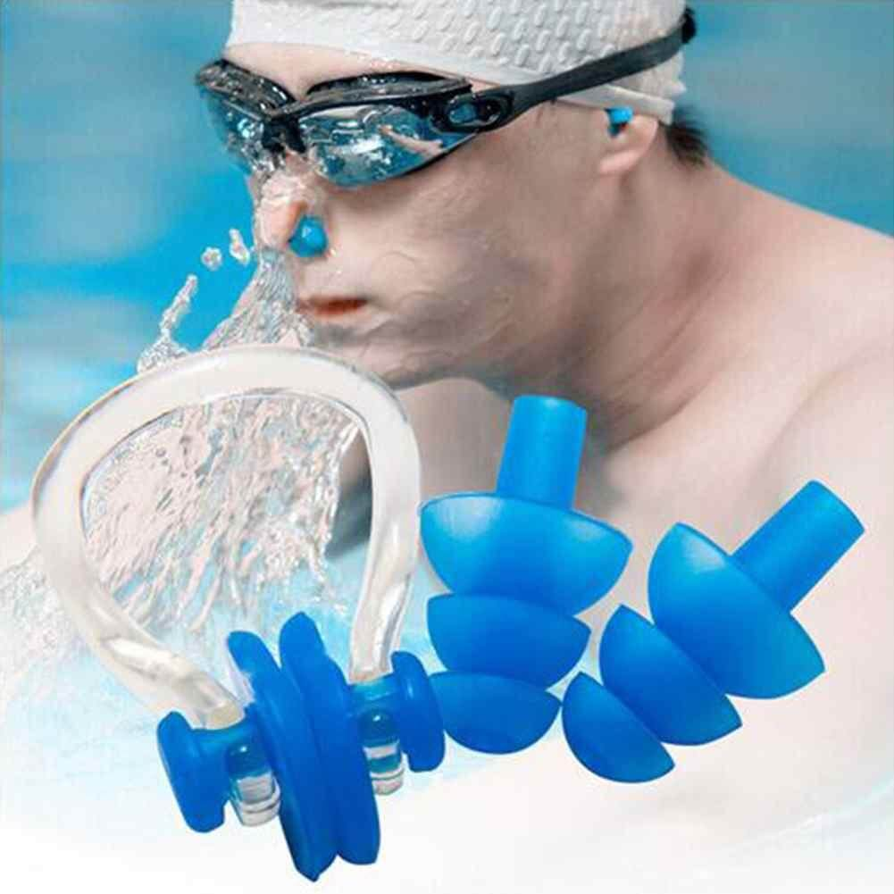 Airforce Soft Silicone Swimming Nose Clips + 2 Ear Plugs Earplugs Gear With A Case Box Set Pool Accessories Water Sports - Intl.
