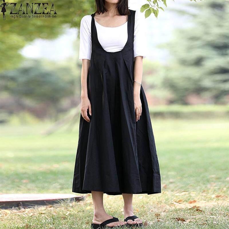 Zanzea Wanita Terusan Ukuran Besar Gaun BoHo Sundress Longgar Flare Abaya Vintage-Intl