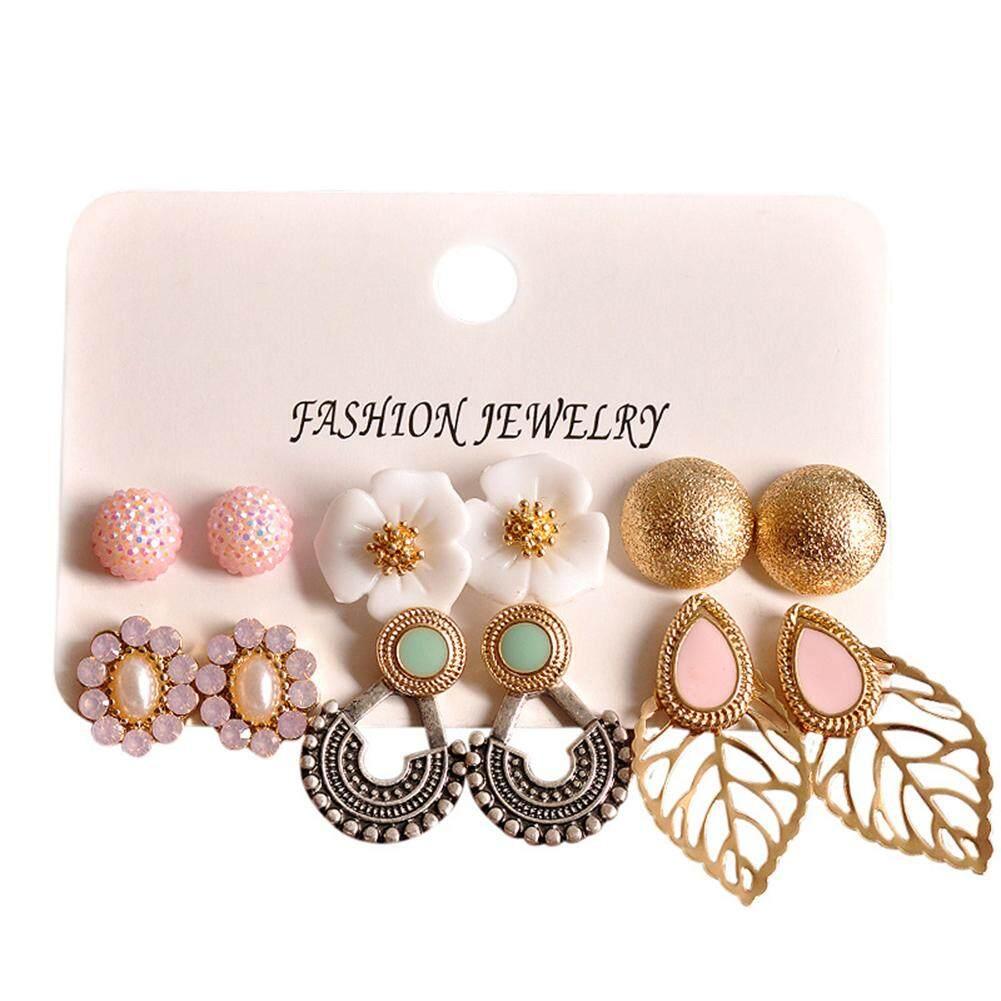 6 Pairs Gravitational Wave Bohemian Flower Ball Hollow Leaf Ear Studs Earrings Set Women Jewelry