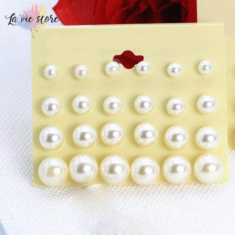La vis 12 Pairs Women Earrings Artificial White Pearl Lady Girls Stud Earring Gift