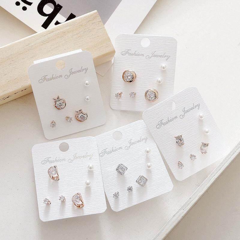 Detail Gambar Jepang Korea manis Kristal Elegan minimalis elit Zirkon kecil Anting tindik set kombinasi Anti