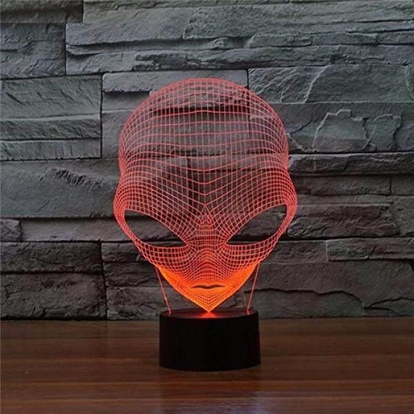 Prelight Ilusi Optik 3D Pop-Eyed Bentuk Alien Lampu Dekoratif LED 7 Warna Berubah Lampu Hologram Akrilik Lampu Malam dengan Sakelar Sentuh Luminaria untuk Hotel/ kamar/Warung Kopi/Bar/Ktv-Intl