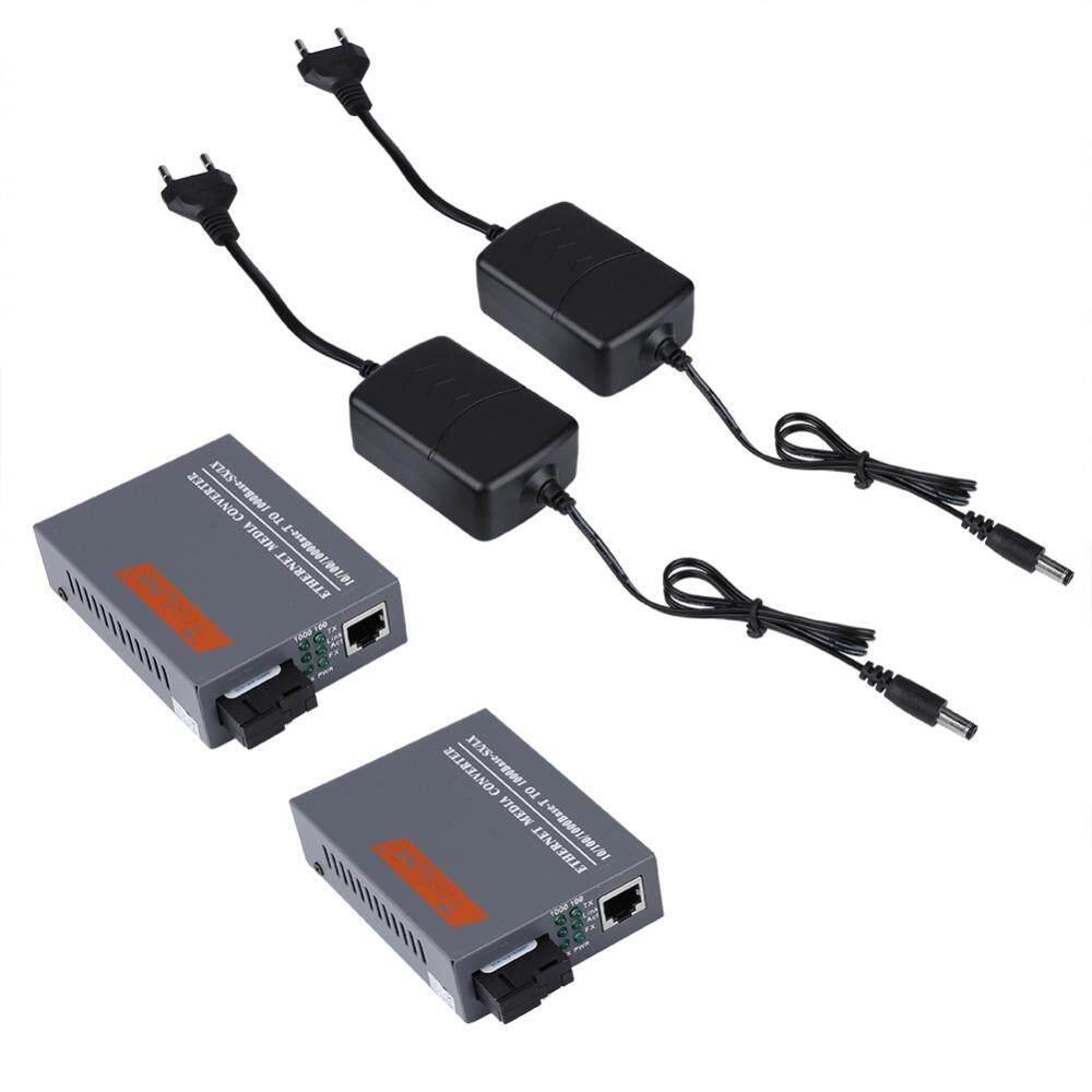 2PCS SC10/100/1000M Gigabit Fiber Media Converter 100-240V EU Plug