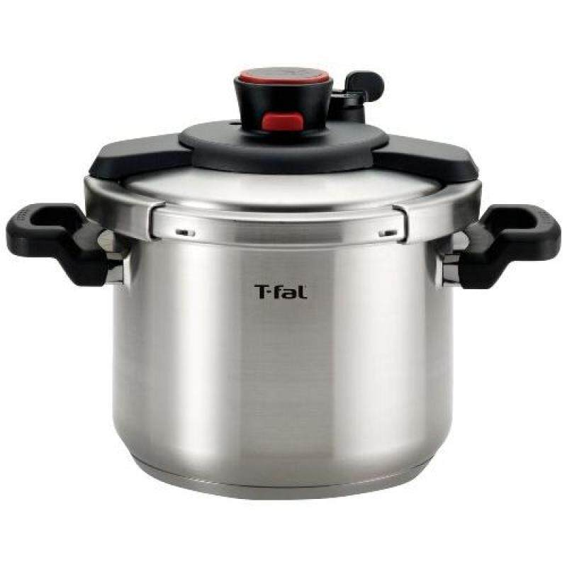 T-fal P45007 Clipso Stainless Steel Dishwasher Safe PTFE PFOA and Cadmium Free 12-PSI Pressure Cooker Cookware, 6.3-Quart, Silver, 6-Quart Singapore