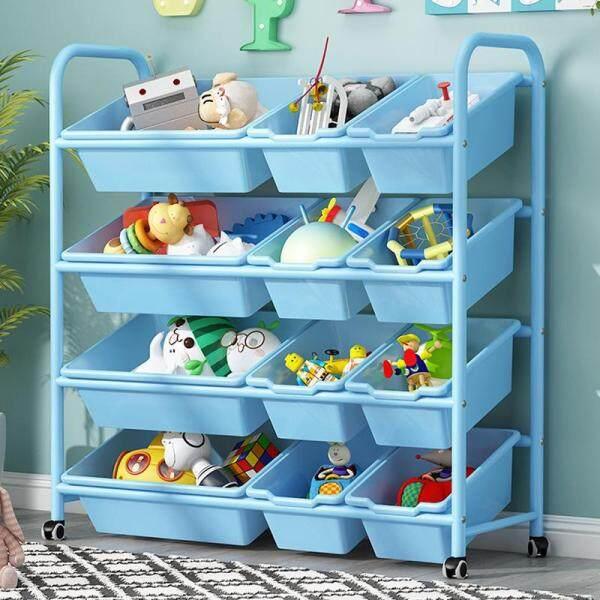 RuYiYu - 83 X 94 X 30cm, Kids Toy Organizer and Storage Bins with Pulley/Universal Wheels , 9-Bins in Fun Colors, Toy Storage Rack, Steel Pipe Frame