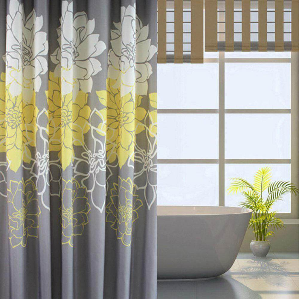 Goodgreat Gray Background And Flowers Pattern,mildew Proof And Waterproof Washable Printed Polyester Fabric Shower Curtain For Bathroom - Intl By Good&great.
