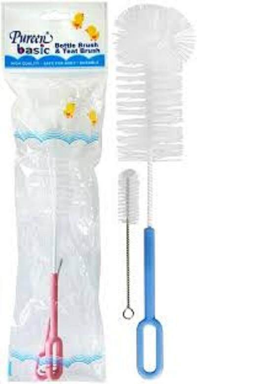 Pureen Basic Bottle & Teat Brush (BPA Free) - Pink/Blue