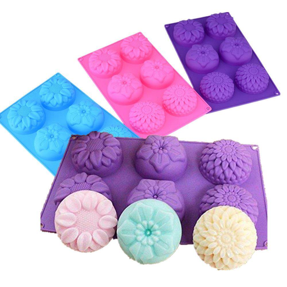 Fang Fang 6 Cavity Flower Shaped Silicone Soap DIY Handmade Candle Cake Mold Supplies