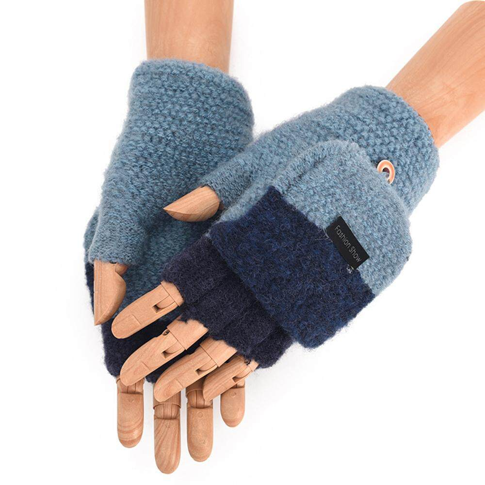 28a75a663 Fang Fang Mens Winter Warm Thickening Wool Knitted Flip Fingerless Exposed  Finger Gloves Half Finger Mittens
