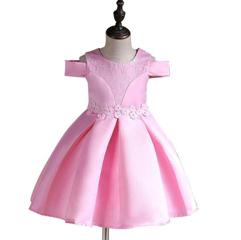 Kids Girl Pink Little Off Shoulder Princess Dress